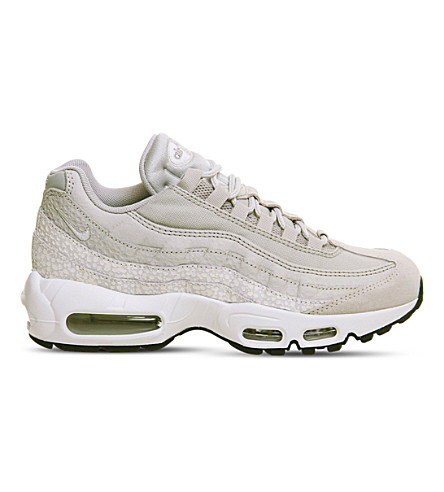 NIKE Air Max 95 leather and mesh trainers (Dusted+chalk