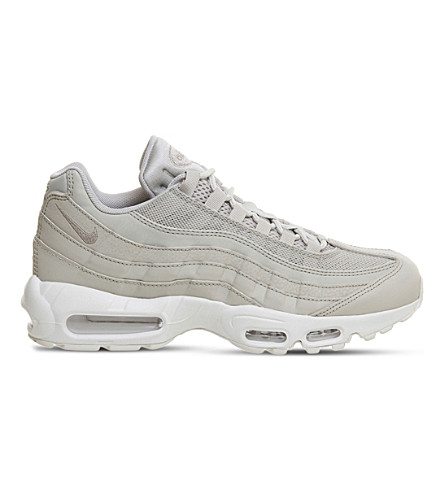 NIKE Air Max 95 leather and mesh trainers (Pale+grey+white