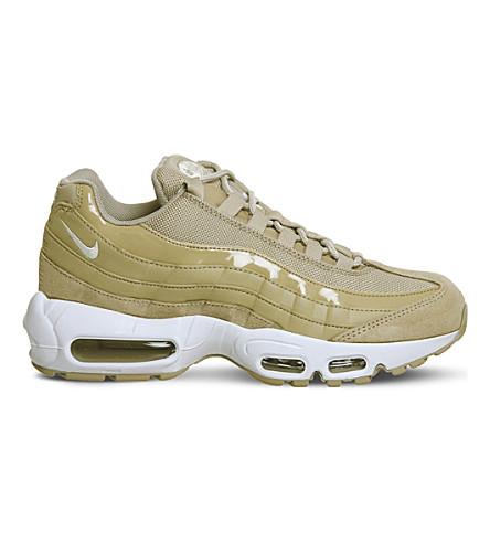 NIKE 空气最大95皮革和网眼运动鞋 (蘑菇白色