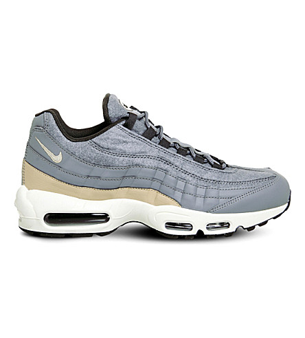 NIKE Air Max 95 leather and felt trainers (Grey+pewter+mushroom