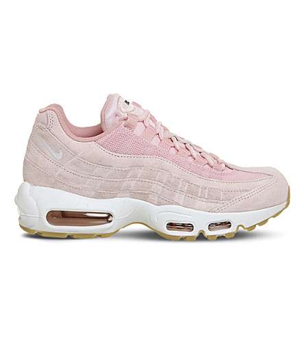 NIKE Air Max 95 suede and mesh trainers (Prism+pink+white
