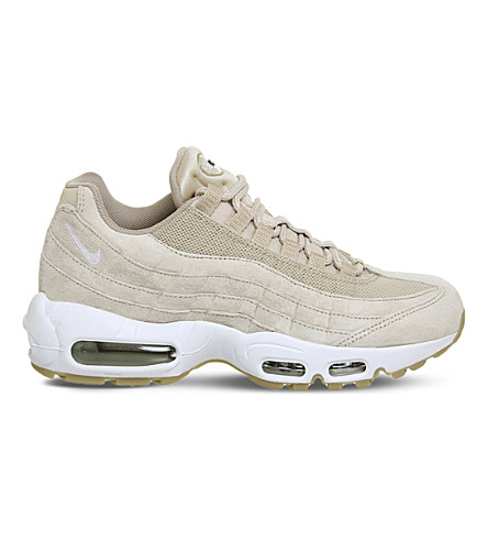 NIKE Air Max 95 suede and mesh trainers (Oatmeal+white+suede
