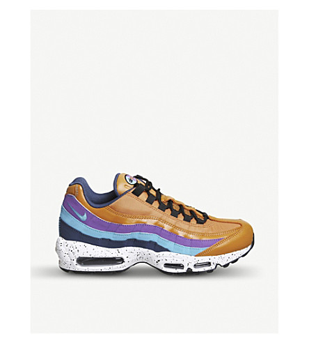NIKE Air Max 95 leather and mesh trainers (Monarch+blue+fury