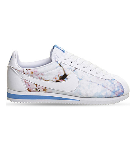 NIKE Printed mesh and leather Cortez sneakers (Cherry blossom