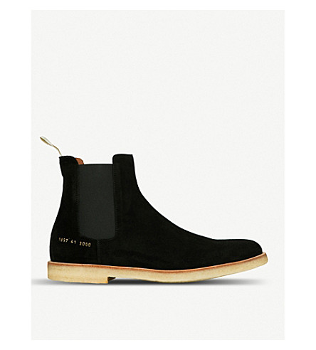 COMMON PROJECTS Round-toe suede Chelsea boots (Black