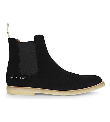 COMMON PROJECTS Suede Chelsea boots (Black+suede+crepe