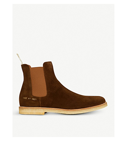 COMMON PROJECTS Round toe suede Chelsea boots (Brown