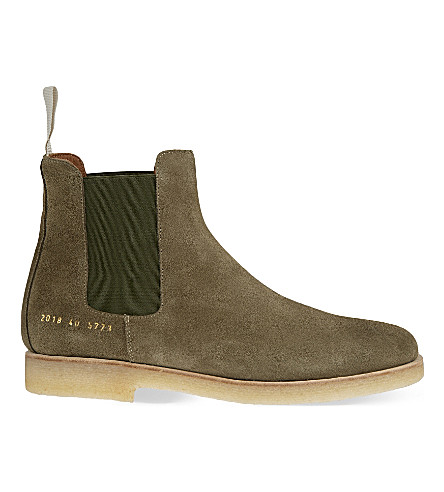 COMMON PROJECTS Suede Chelsea boots (Olive
