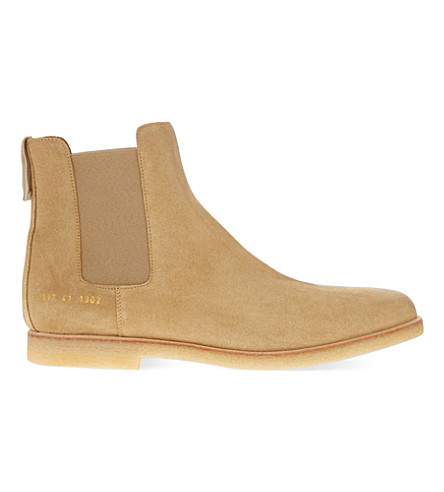 COMMON PROJECTS Chelsea suede ankle boots (Sand+suede+crepe