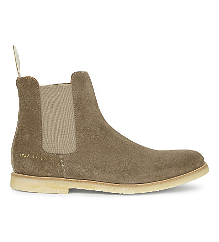 COMMON PROJECTS Suede Chelsea boots (Taupe+suede+crepe