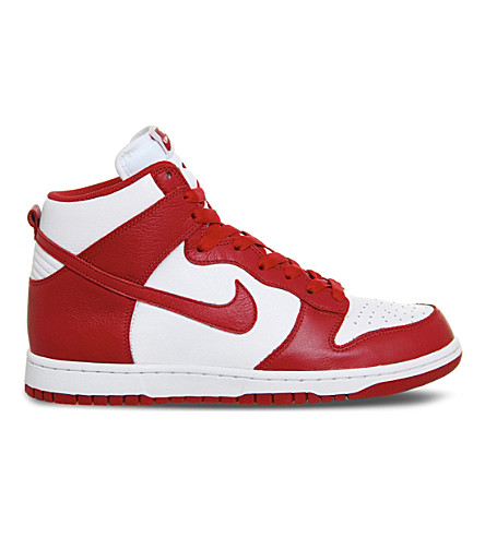 NIKE Dunk high-top leather trainers (White red retro qs
