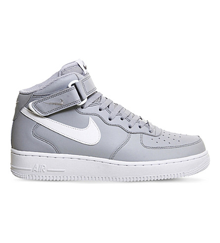 NIKE Air force 1 leather high-top trainers (Wolf grey white