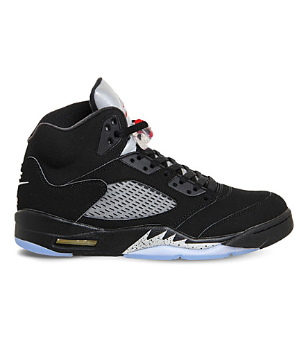 NIKE Air Jordan 5 retro leather trainers (Black fire red og