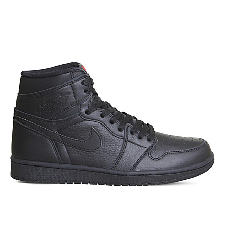 NIKE Air Jordan 1 Retro leather high-top trainers (Black+mono+red
