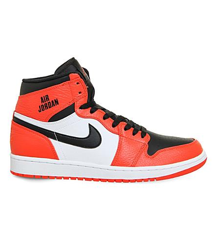 NIKE Jordan 1 Retro leather trainers (Max orange black