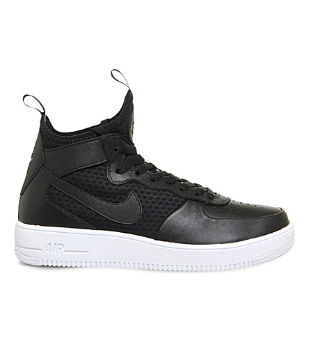 NIKE Air Force 1 Ultra Force leather and mesh sneakers (Black+white