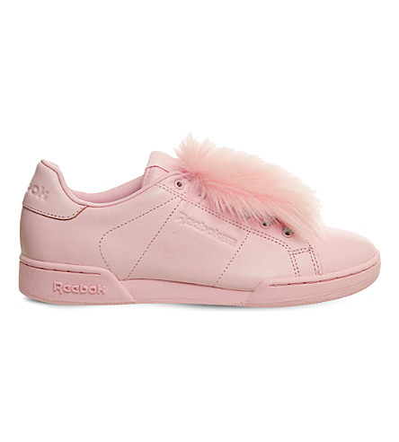 REEBOK NPC UK 2 leather and faux-fur trainers (Polished+pink+fur