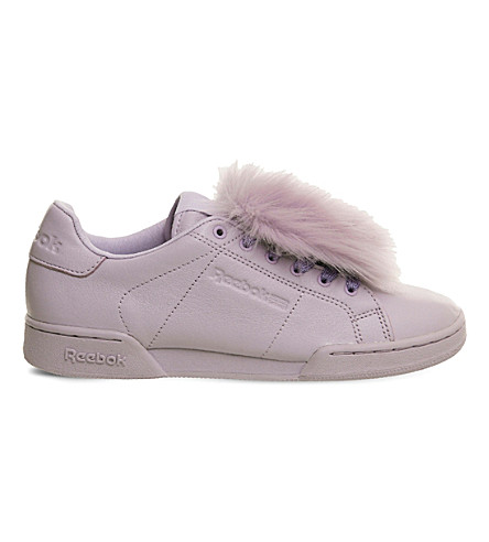 REEBOK NPC UK 2 leather and faux-fur trainers (Pink+oasys+fur
