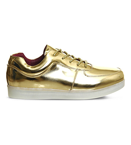 IRREGULAR CHOICE State of Flux light-up leather trainers (Metallic+gold+red