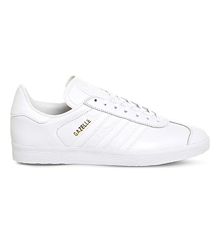 ADIDAS Gazelle lace-up leather sneakers (White+white