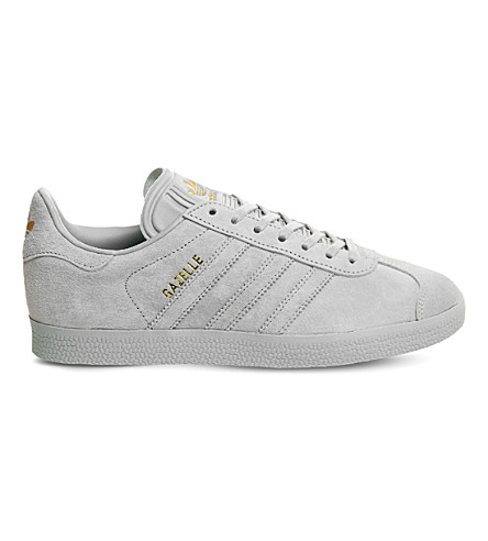 ADIDAS Gazelle low-top suede trainers (Light+grey+gold
