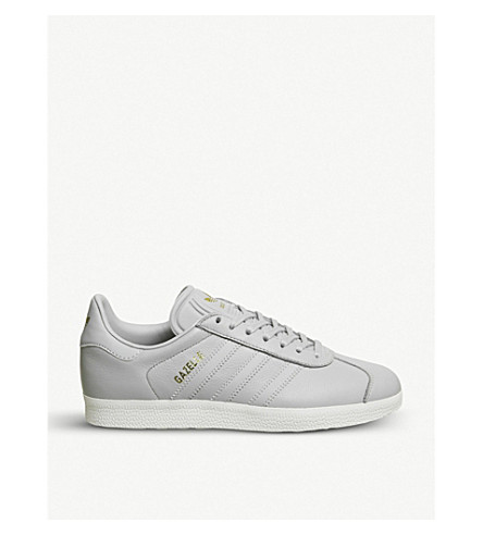 ADIDAS Gazelle low-top leather trainers (Grey+two+gold