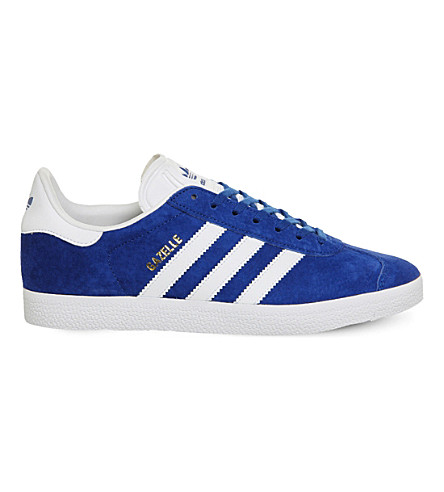 ADIDAS Gazelle lace-up suede trainers (Royal+white