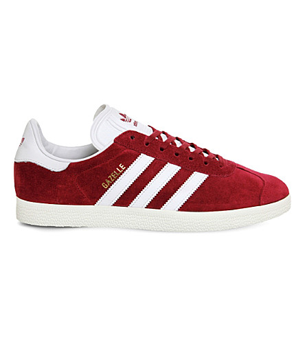 ADIDAS Gazelle lace-up suede sneakers (Burgundy+white+gold
