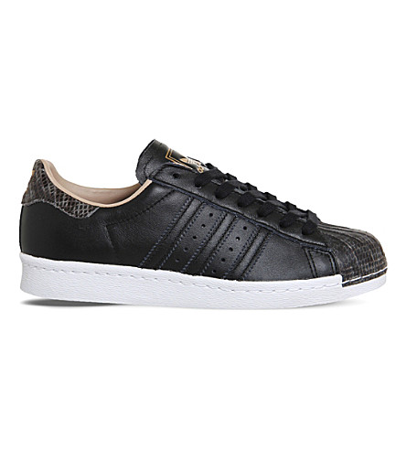 ADIDAS Superstar 80s leather trainers (Black rose snake toe