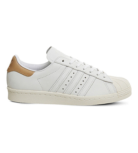 adidas superstar 80s trainers black nubuck tan