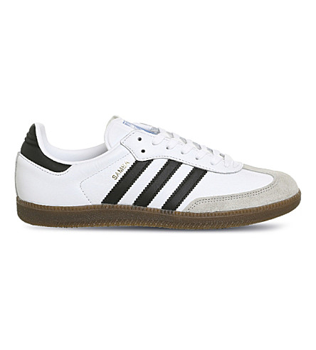 ADIDAS Samba Original leather and suede trainers (White+black+granite