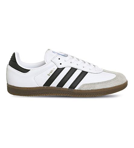 ADIDAS Samba Original leather and suede trainers (White+black+granite