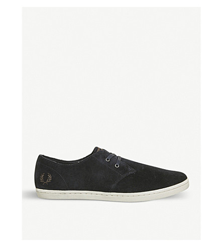 FRED PERRY Byron suede low-top trainers (Navy+dark+chocolate