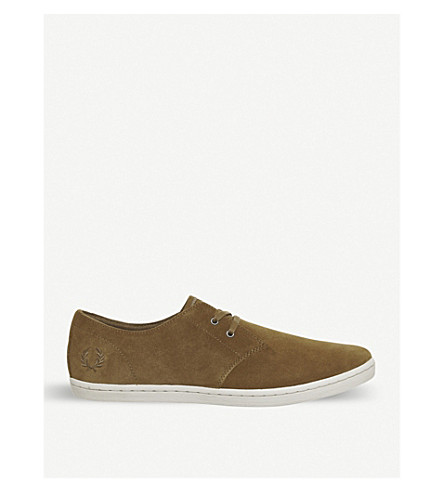FRED PERRY Byron suede low-top trainers (Ginger+tobacco