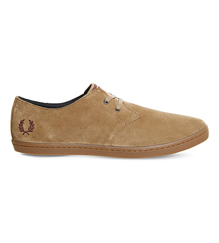 FRED PERRY Byron suede low-top trainers (Almond+brown+stone