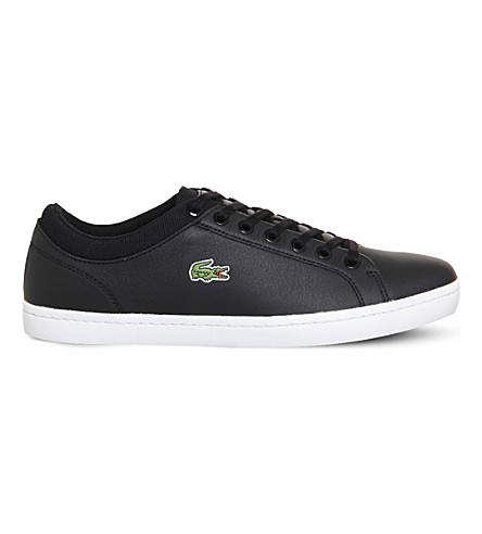 LACOSTE Straightset leather trainers (Black+leather