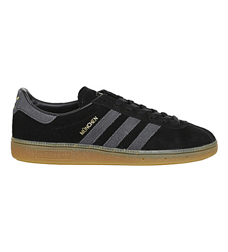 ADIDAS Munchen low-top nubuck trainers (Black+dark+grey+gum