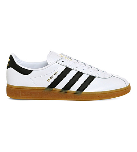 ADIDAS Munchen suede sneakers (White+black+gum