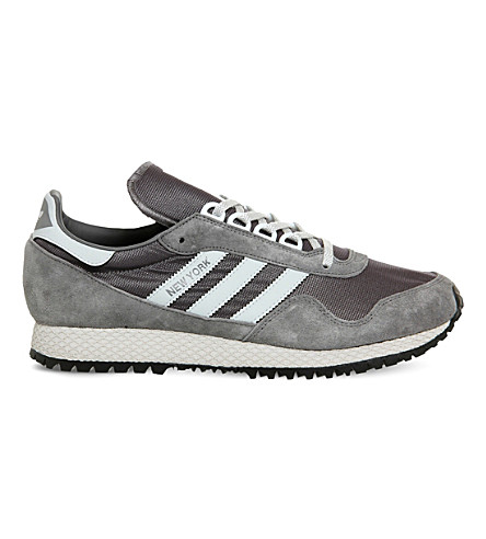 ADIDAS New York mush and nubuck trainers (Granite+clear+grey