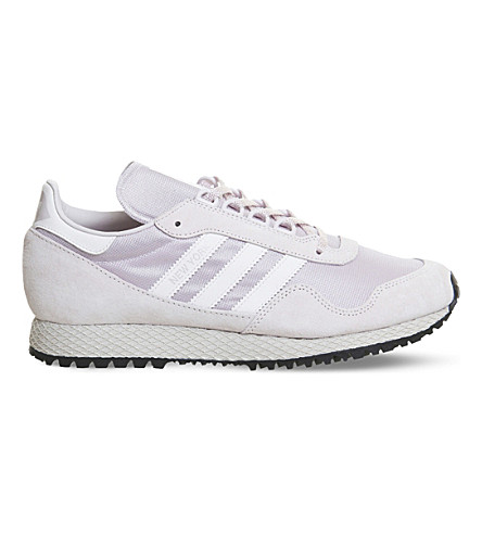 ADIDAS New York nubuck and mesh trainers (Ice+purple+white
