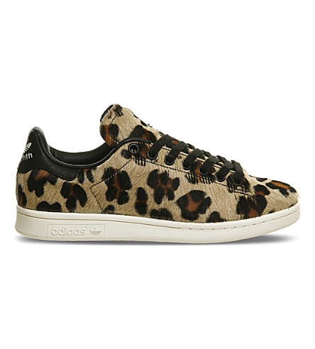 adidas - stan smith leopard-print pony-hair sneakers | selfridges.com