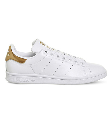 ADIDAS Stan Smith mirrored-detail leather trainers (White+bronze+gold