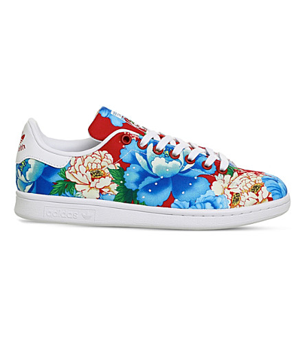 ADIDAS Power Red Floral Stan Smith canvas trainers (Power+red+floral