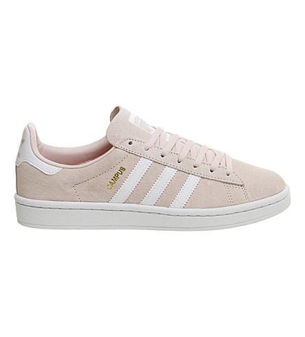 ADIDAS 校园麂皮绒运动鞋 (寒冰 + 粉红色 + 白色