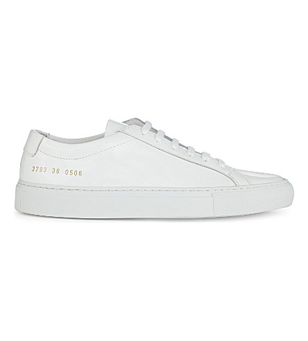 COMMON PROJECTS Achillies patent leather low-top sneakers (White+gloss