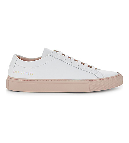 COMMON PROJECTS Achillies leather low-top trainers (White+blush+sole