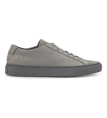COMMON PROJECTS Original Achillies nubuck low-top trainers (Grey+mono+nubuck