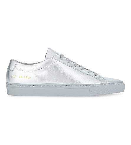 COMMON PROJECTS Original Achilles leather low-top sneakers (Silver+mono+leather