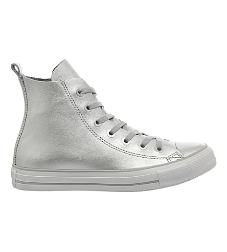 CONVERSE CTAS leather trainers (Silver white