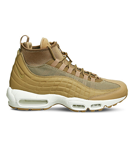 NIKE Air Max 95 Sneakerboot leather and fabric high-top trainers (Flax+white